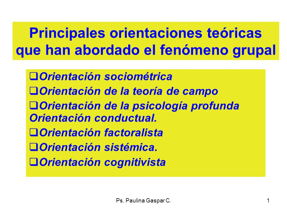 Principales orientaciones teóricas que han abordado el fenómeno grupal