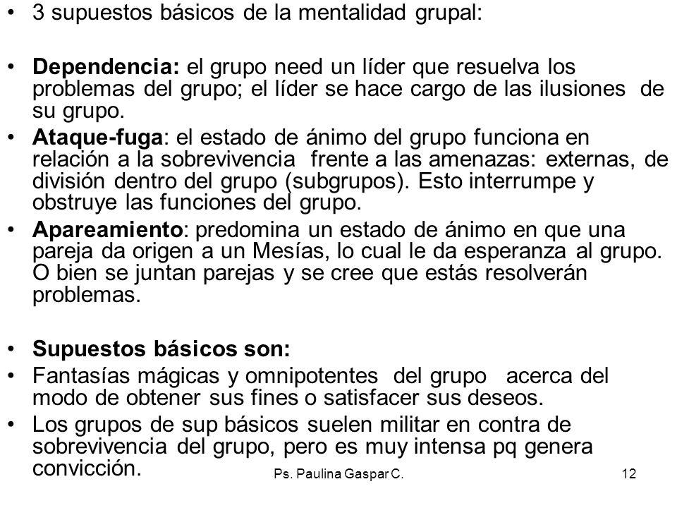 3 supuestos básicos de la mentalidad grupal: