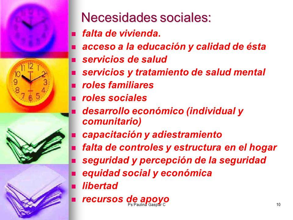 Necesidades sociales: