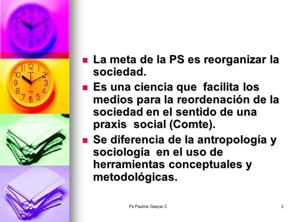 La meta de la PS es reorganizar la sociedad.