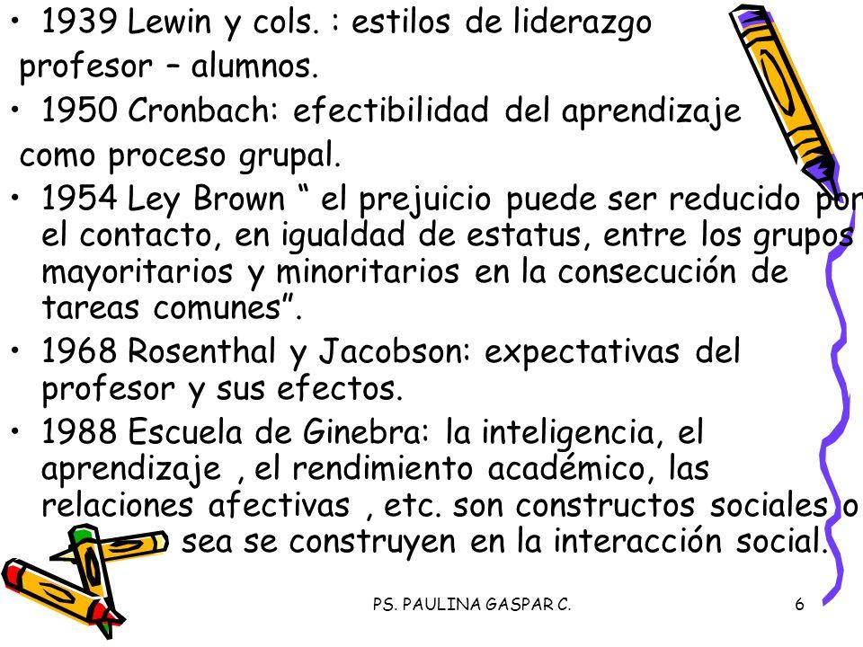 1939 Lewin y cols. : estilos de liderazgo profesor – alumnos.