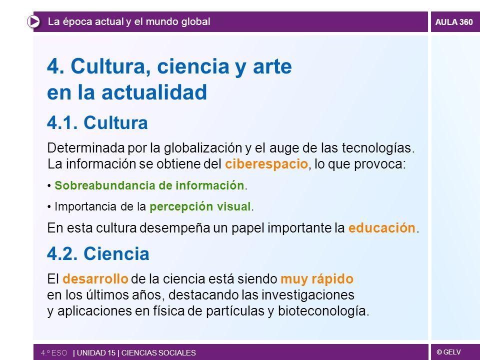 4. Cultura, ciencia y arte en la actualidad 4.1. Cultura 4.2. Ciencia