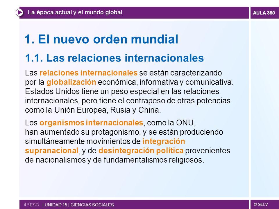 1. El nuevo orden mundial 1.1. Las relaciones internacionales
