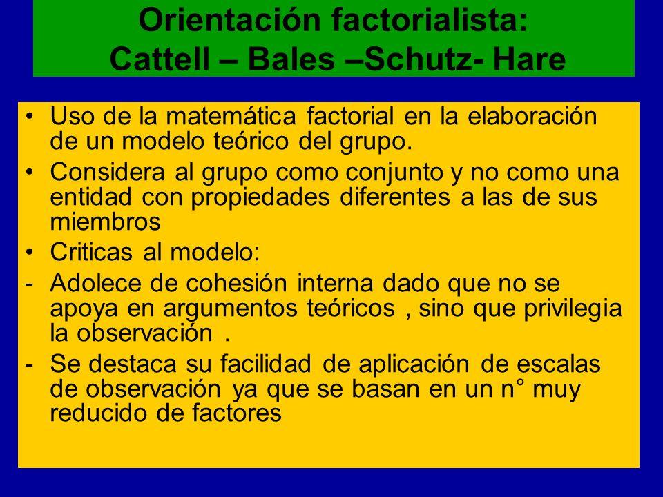 Orientación factorialista: Cattell – Bales –Schutz- Hare