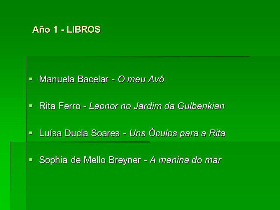 Año 1 - LIBROS Manuela Bacelar - O meu Avô. Rita Ferro - Leonor no Jardim da Gulbenkian. Luísa Ducla Soares - Uns Óculos para a Rita.