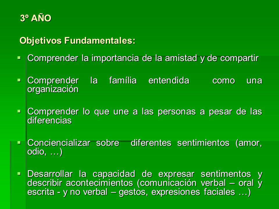 3º AÑO Objetivos Fundamentales: