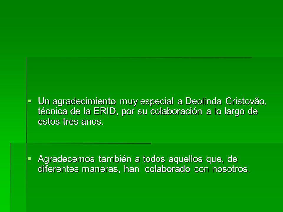 Un agradecimiento muy especial a Deolinda Cristovão, técnica de la ERID, por su colaboración a lo largo de estos tres anos.