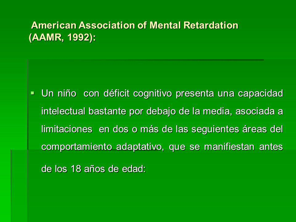 American Association of Mental Retardation (AAMR, 1992):