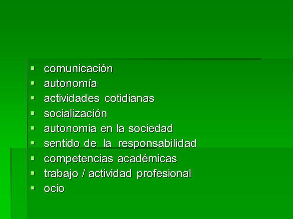 comunicación autonomía. actividades cotidianas. socialización. autonomia en la sociedad. sentido de la responsabilidad.