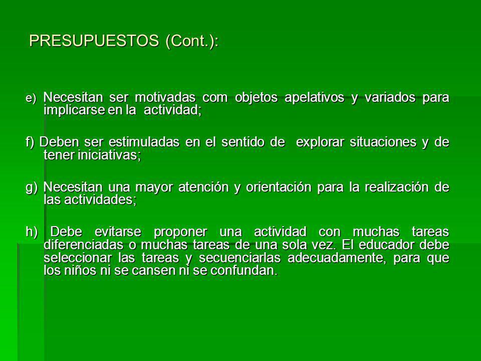 PRESUPUESTOS (Cont.): e) Necesitan ser motivadas com objetos apelativos y variados para implicarse en la actividad;