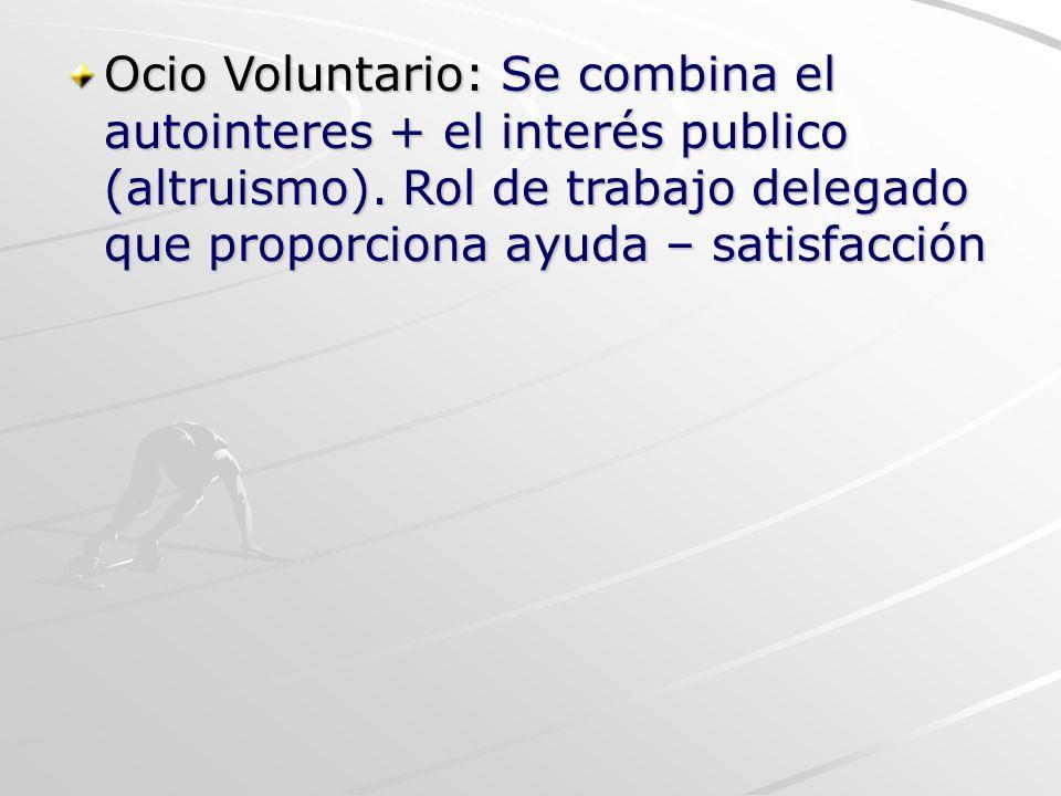 Ocio Voluntario: Se combina el autointeres + el interés publico (altruismo).