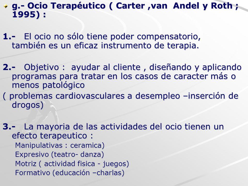 g.- Ocio Terapéutico ( Carter ,van Andel y Roth ; 1995) :