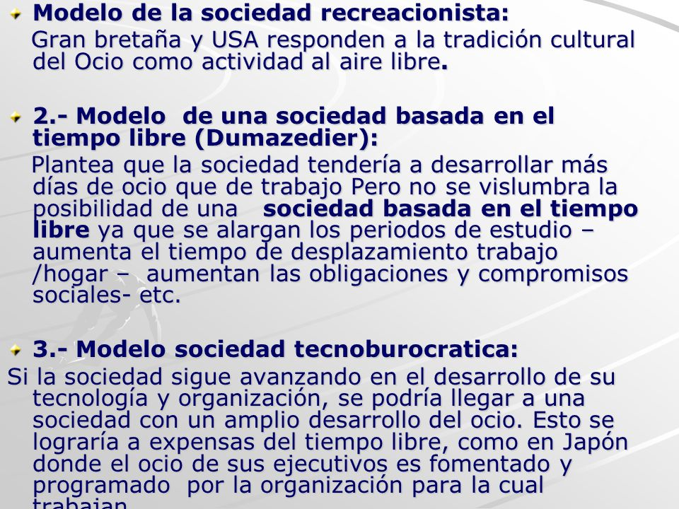 Modelo de la sociedad recreacionista: