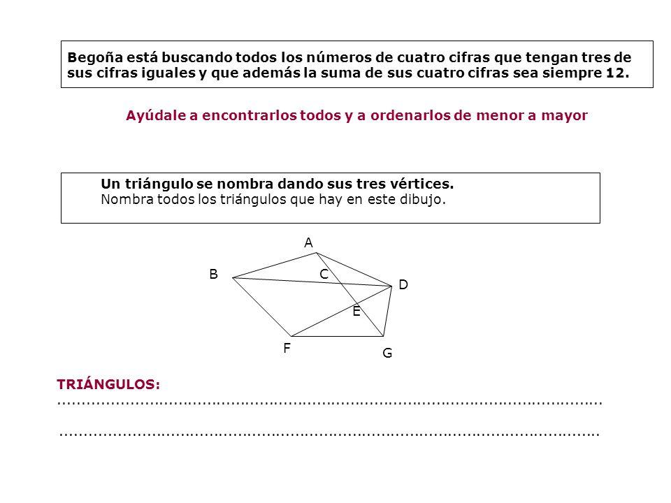 Begoña está buscando todos los números de cuatro cifras que tengan tres de sus cifras iguales y que además la suma de sus cuatro cifras sea siempre 12.
