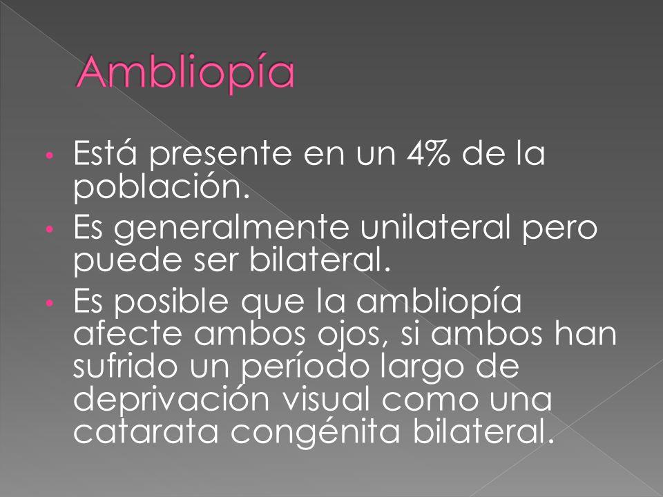Ambliopía Está presente en un 4% de la población.