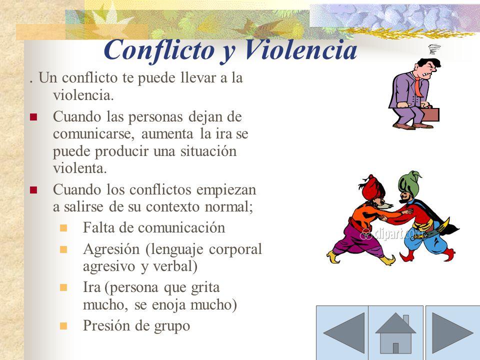Conflicto y Violencia . Un conflicto te puede llevar a la violencia.
