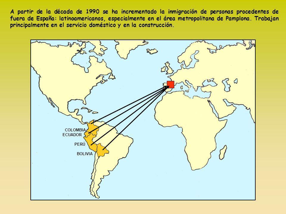 A partir de la década de 1990 se ha incrementado la inmigración de personas procedentes de fuera de España: latinoamericanos, especialmente en el área metropolitana de Pamplona. Trabajan principalmente en el servicio doméstico y en la construcción.