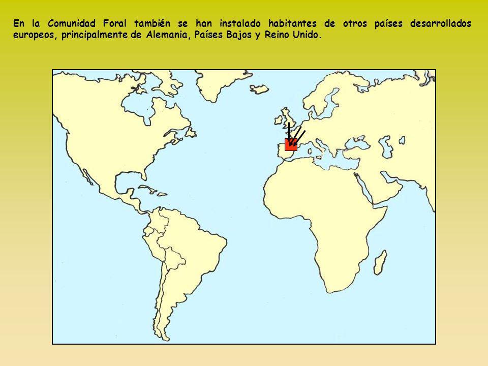 En la Comunidad Foral también se han instalado habitantes de otros países desarrollados europeos, principalmente de Alemania, Países Bajos y Reino Unido.