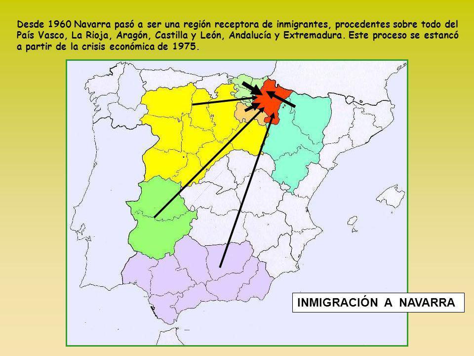 Desde 1960 Navarra pasó a ser una región receptora de inmigrantes, procedentes sobre todo del País Vasco, La Rioja, Aragón, Castilla y León, Andalucía y Extremadura. Este proceso se estancó a partir de la crisis económica de 1975.