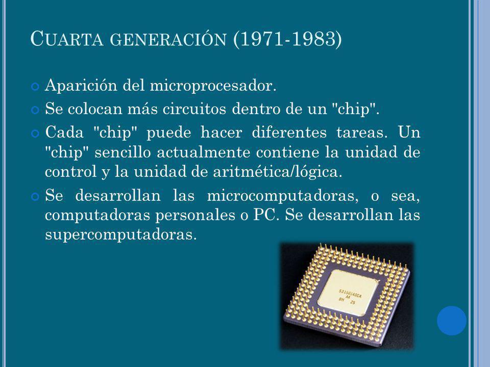Cuarta generación (1971-1983) Aparición del microprocesador.