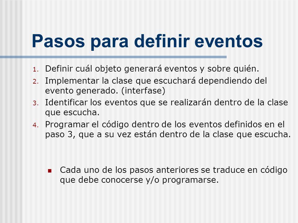 Pasos para definir eventos
