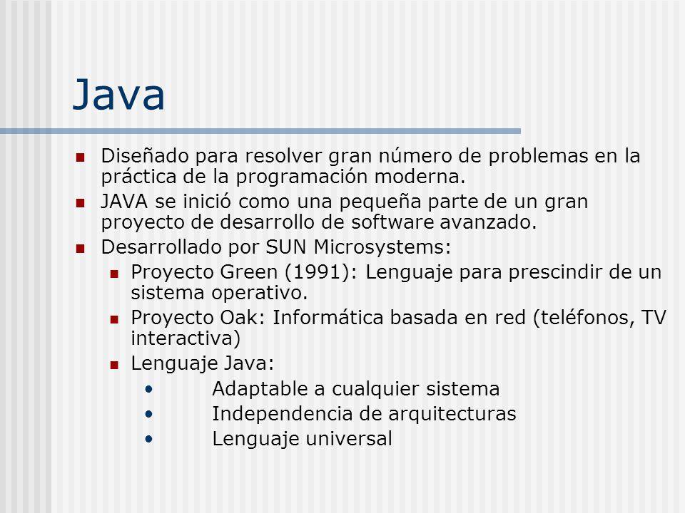 Java Diseñado para resolver gran número de problemas en la práctica de la programación moderna.