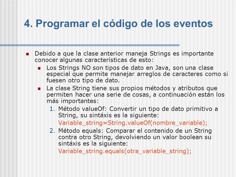 4. Programar el código de los eventos