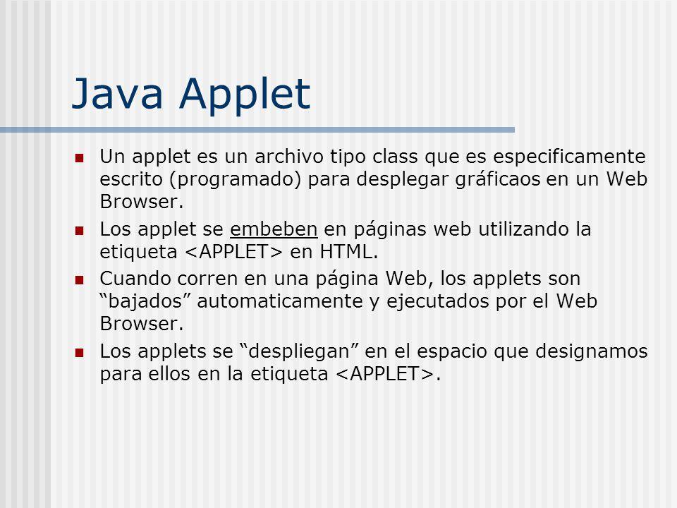 Java Applet Un applet es un archivo tipo class que es especificamente escrito (programado) para desplegar gráficaos en un Web Browser.