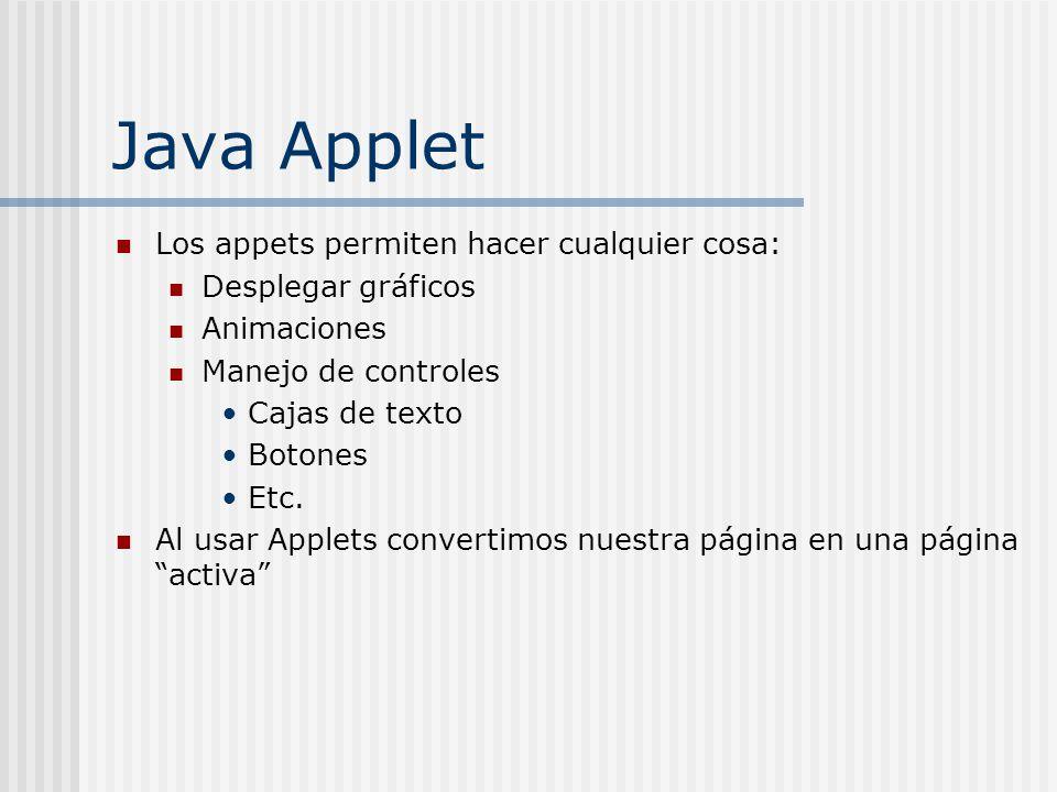 Java Applet Los appets permiten hacer cualquier cosa: