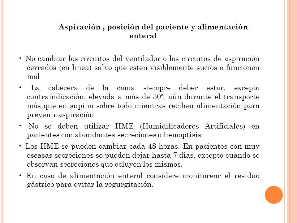 Aspiración , posición del paciente y alimentación enteral