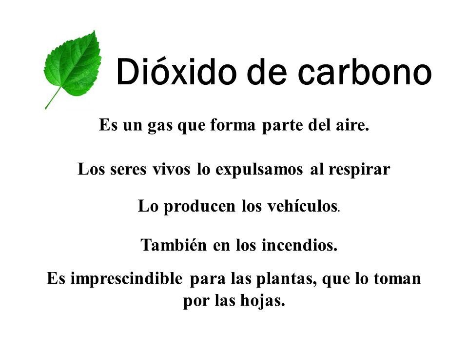 Dióxido de carbono Es un gas que forma parte del aire.