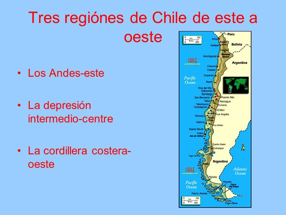 Tres regiónes de Chile de este a oeste