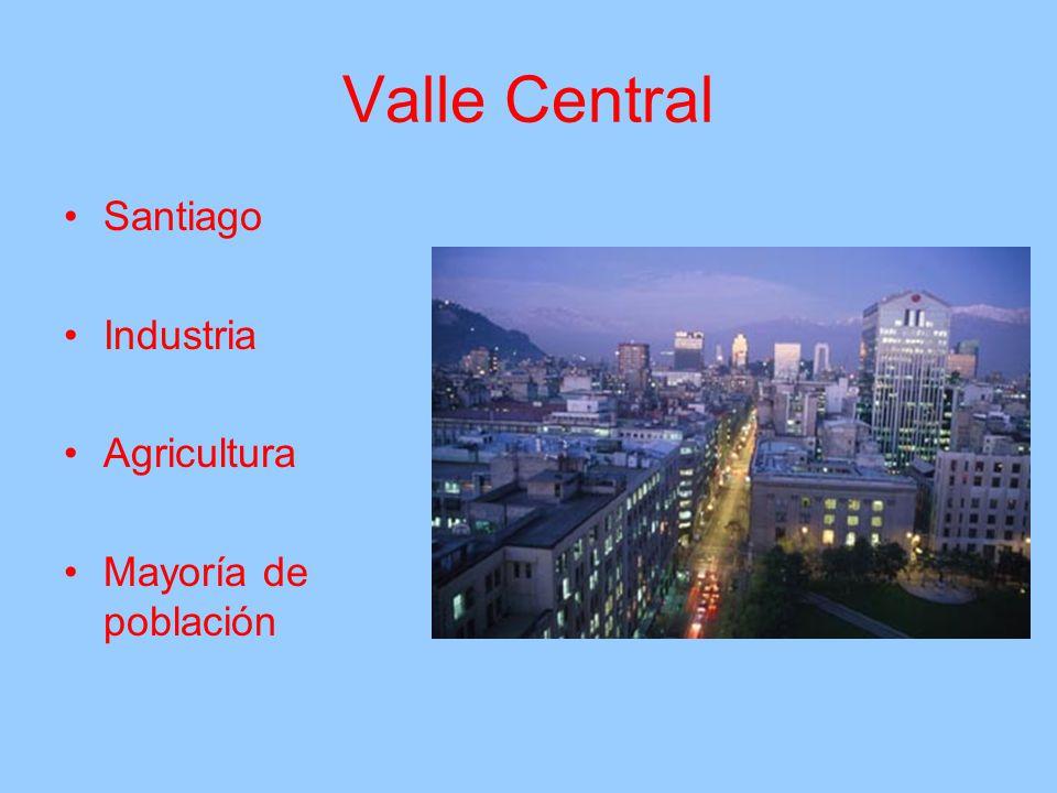 Valle Central Santiago Industria Agricultura Mayoría de población