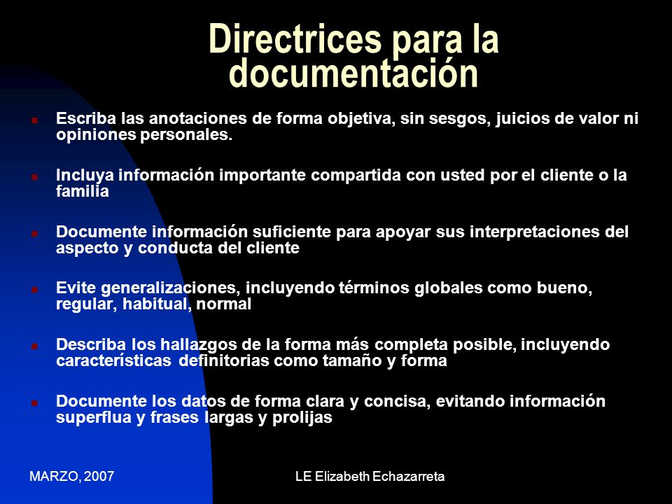 Directrices para la documentación