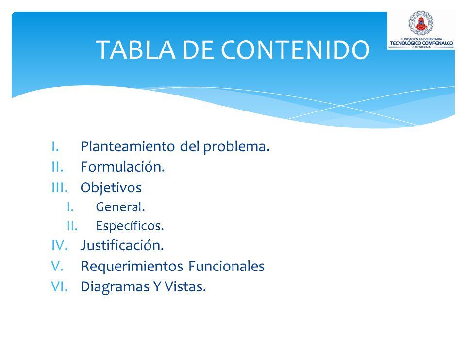 TABLA DE CONTENIDO Planteamiento del problema. Formulación. Objetivos