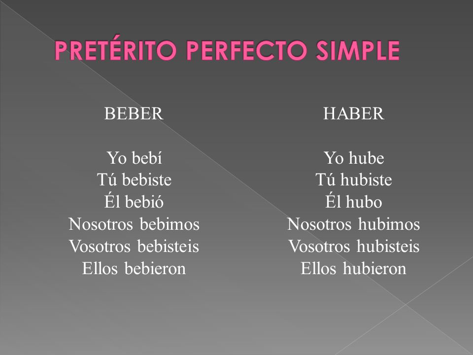 PRETÉRITO PERFECTO SIMPLE