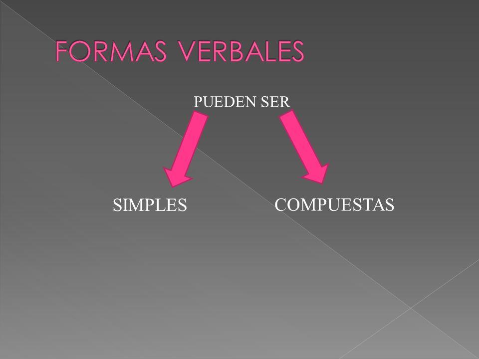 FORMAS VERBALES PUEDEN SER SIMPLES COMPUESTAS