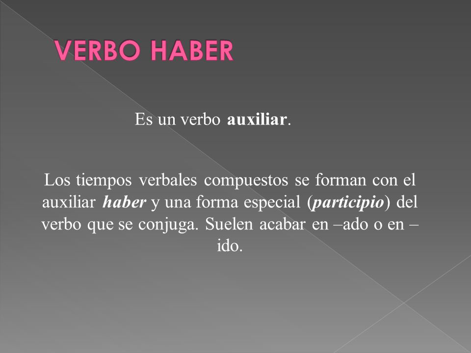 VERBO HABER Es un verbo auxiliar.