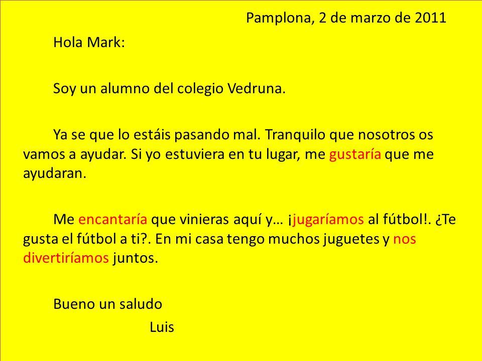 Pamplona, 2 de marzo de 2011 Hola Mark: