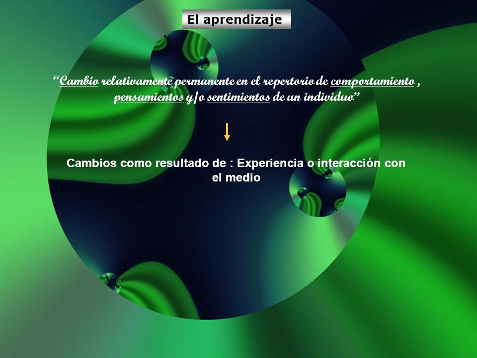 Cambios como resultado de : Experiencia o interacción con el medio