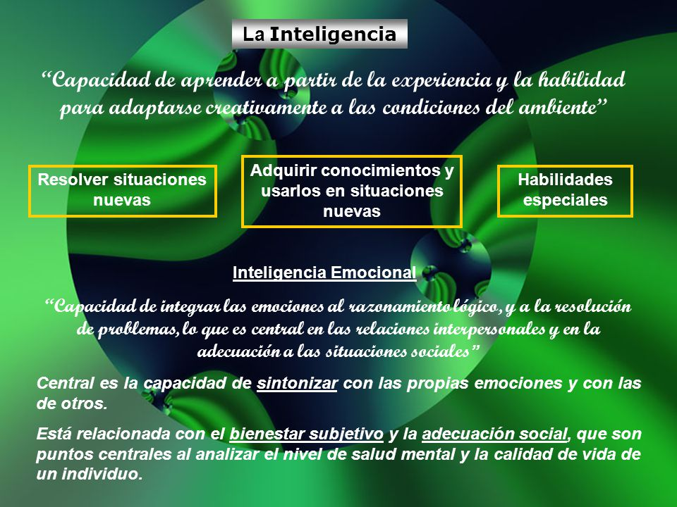 La Inteligencia Capacidad de aprender a partir de la experiencia y la habilidad para adaptarse creativamente a las condiciones del ambiente