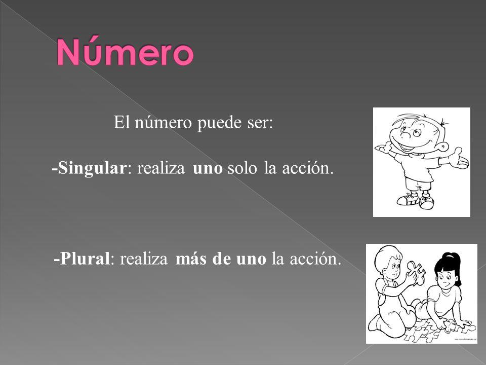 Número El número puede ser: -Singular: realiza uno solo la acción.