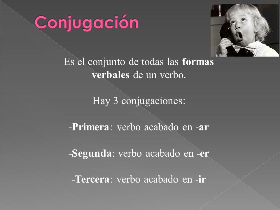 Conjugación Es el conjunto de todas las formas verbales de un verbo.