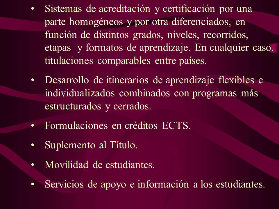 Sistemas de acreditación y certificación por una parte homogéneos y por otra diferenciados, en función de distintos grados, niveles, recorridos, etapas y formatos de aprendizaje. En cualquier caso, titulaciones comparables entre países.