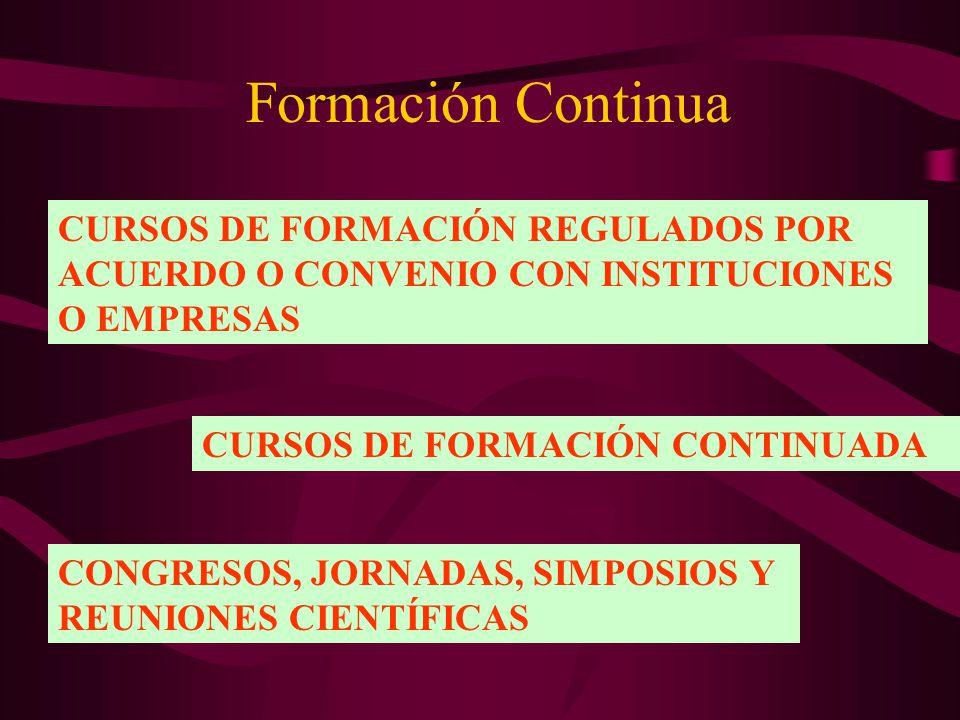 Formación Continua CURSOS DE FORMACIÓN REGULADOS POR ACUERDO O CONVENIO CON INSTITUCIONES O EMPRESAS.