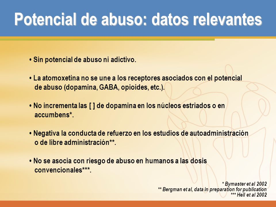 Potencial de abuso: datos relevantes