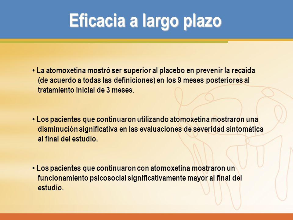 Eficacia a largo plazo • La atomoxetina mostró ser superior al placebo en prevenir la recaída.