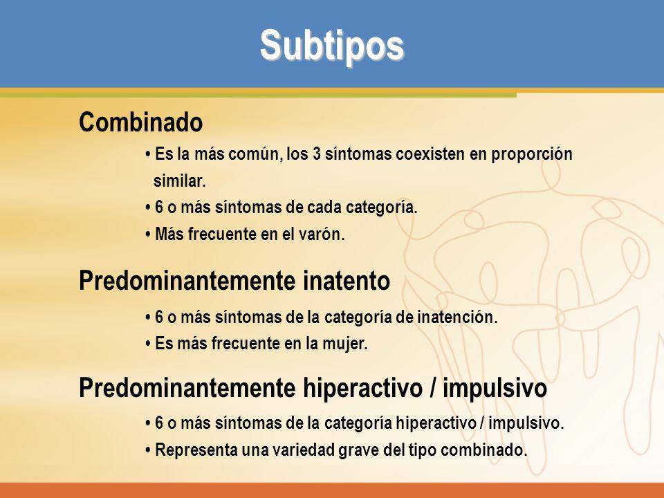 Subtipos Combinado Predominantemente inatento