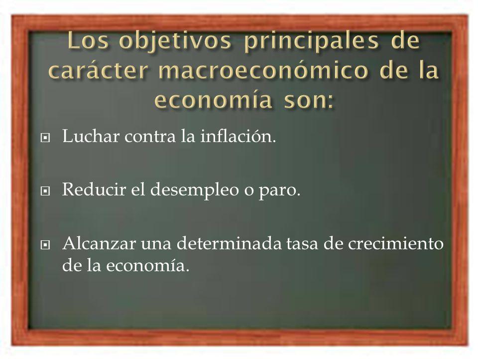 Los objetivos principales de carácter macroeconómico de la economía son: