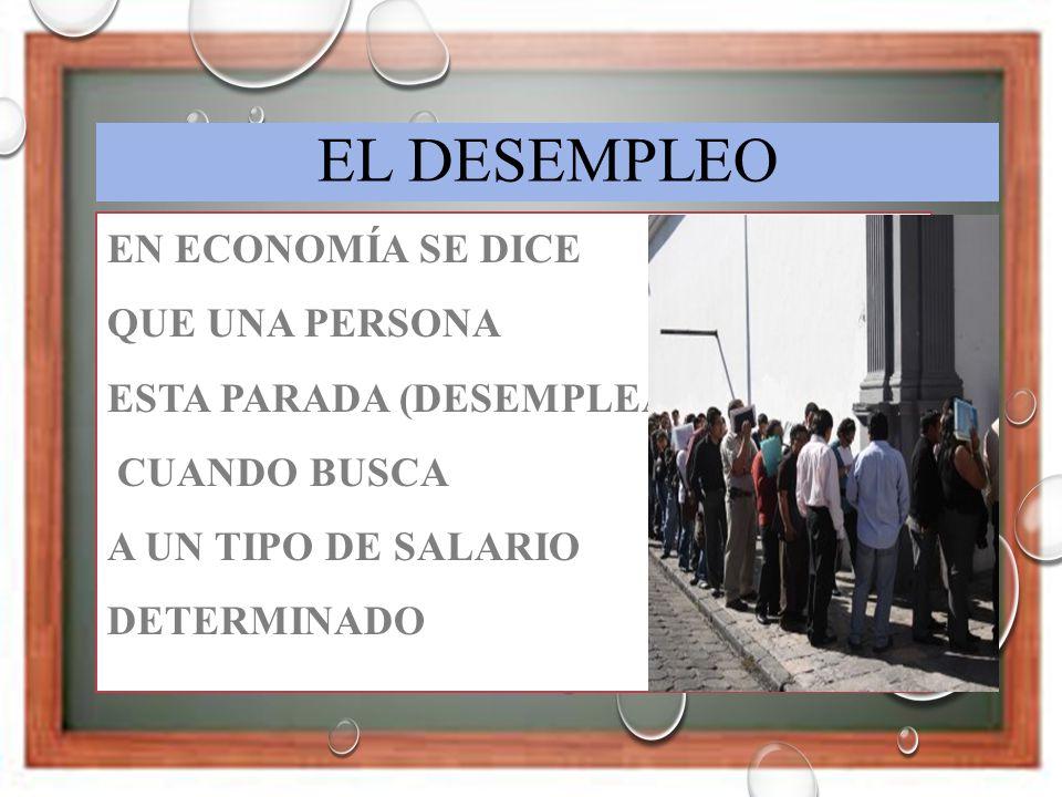El desempleo En economía se dice que una persona